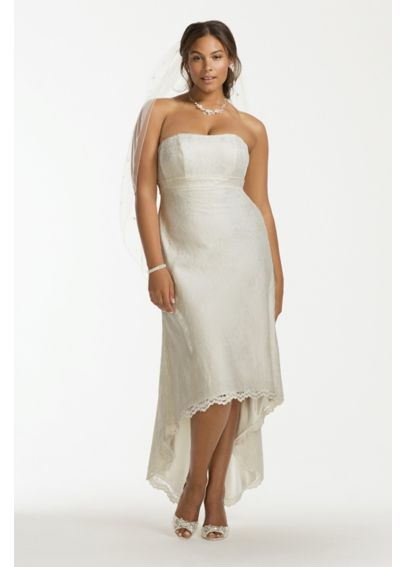 Scalloped High Low Lace Plus Size Wedding Dress 9OP1253