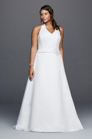 Halter V-neck Plus Size Wedding Dress with Flower | David\'s Bridal