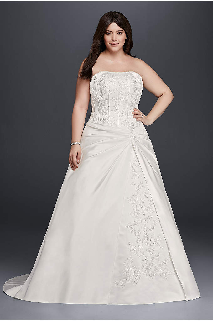Draped A-Line Plus Size Strapless Wedding Dress - The structured corset bodice of this plus size