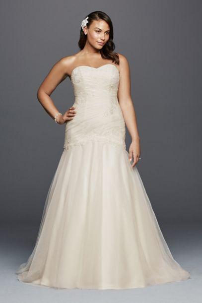 trumpet plus size wedding dress with lace details | david's bridal