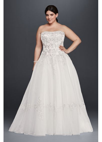 Tulle Plus Size Wedding Dress with Lace Appliques 9OP1269
