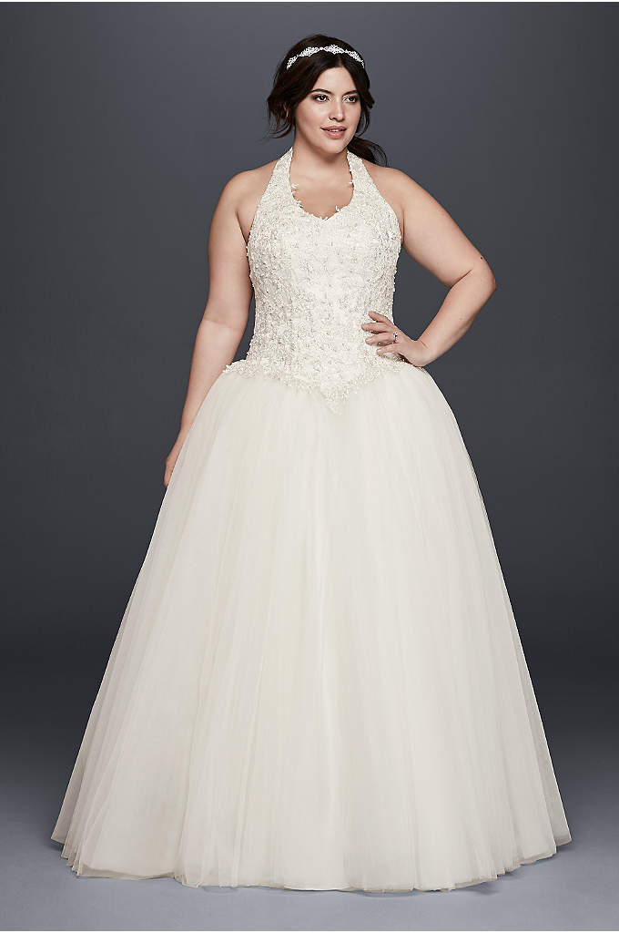 basque waist plus size ball gown wedding dress