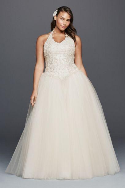 Tulle Halter Basque Waist Plus Size Wedding Dress | David's Bridal