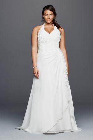 Halter Crinkle Chiffon Plus Size Wedding Dress