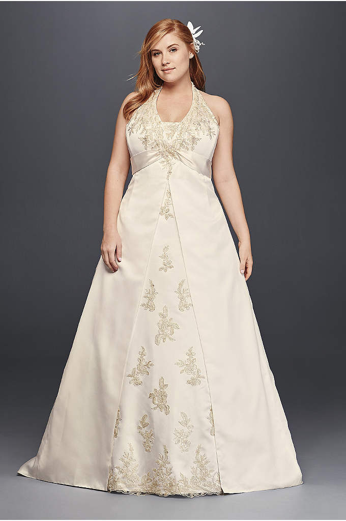 Halter Satin A-Line Plus Size Wedding Dress - Lavish lace appliques bloom from the halter bodice