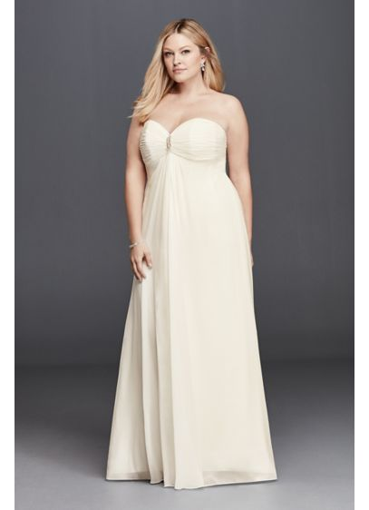 Plus size strapless wedding dress with brooch davids bridal for Davids bridal beach wedding dresses