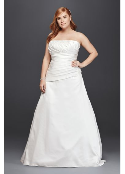 Strapless Satin A-Line Plus Size Wedding Dress 9OP1278