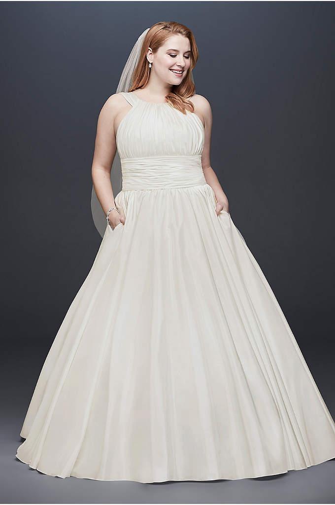 Taffeta Plus Size Ball Gown Wedding Dress - This classic taffeta ball gown is full of