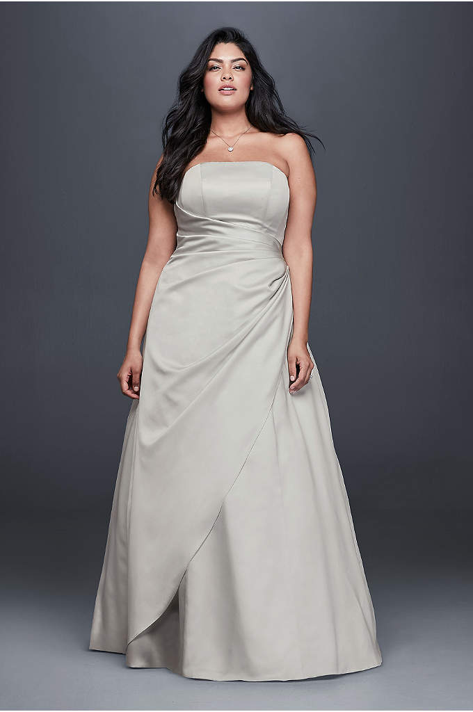 Gathered Satin A-Line Plus Size Wedding Dress - A flattering A-line silhouette, strapless bodice and beautifully