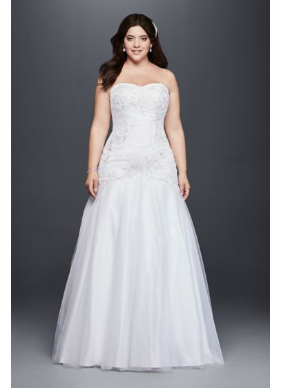 Plus size mermaid wedding dress with beaded lace davids for How to start a wedding dress shop