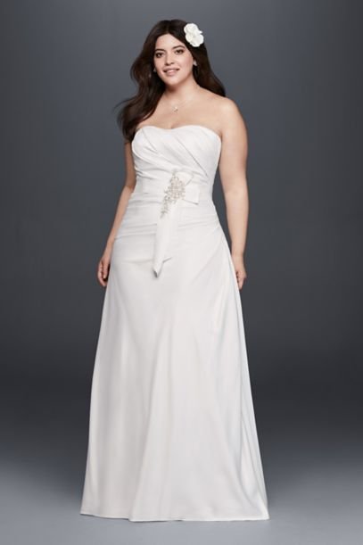 Plus Size Ruched Wedding Dress with Bow at Hip Davids Bridal