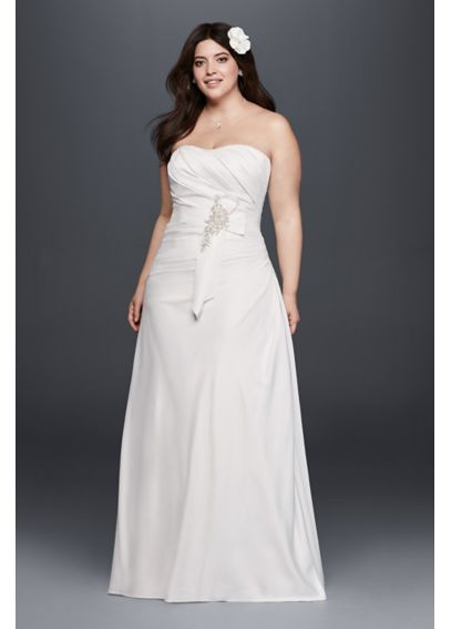 Plus Size Ruched Wedding Dress with Bow at Hip 9OP1293