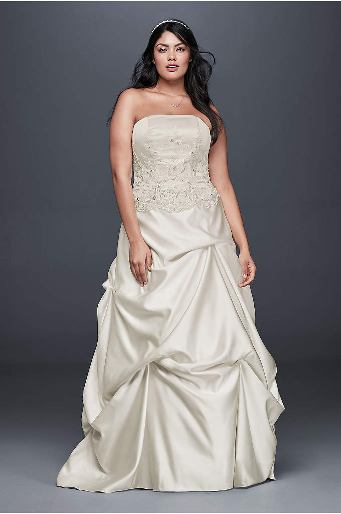 embroidered satin plus size wedding dress