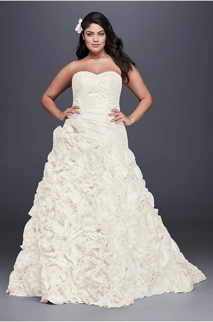 Rosette Skirt Plus Size Wedding Dress - An intricately pleated, drop-waist, plus size gown with