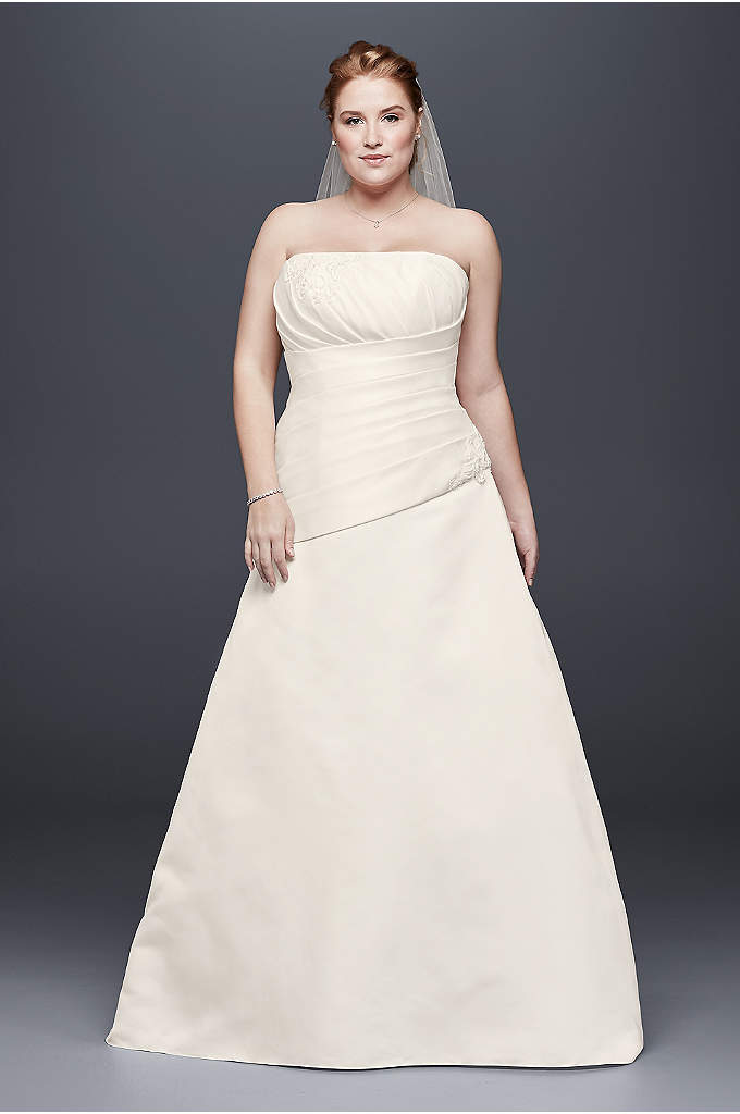 Pleated Satin Drop-Waist Plus Size Wedding Dress - Asymmetrical pleating gives this classic A-line plus-size wedding