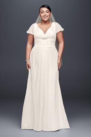 White flutter sleeve plus size dress