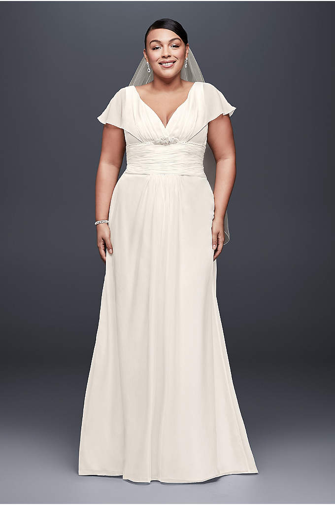 Flutter-Sleeve Chiffon Plus Size Wedding Dress - A beautifully adaptable silhouette, this soft chiffon plus-size