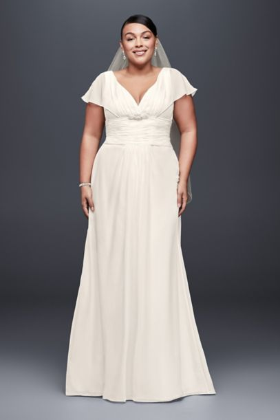 Flutter-Sleeve Chiffon Plus Size Wedding Dress | David's Bridal