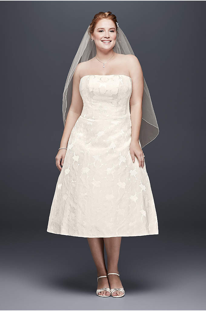 Floral Jacquard Plus Size Tea-Length Wedding Dress - A tea-length wedding dress perfect for a casual