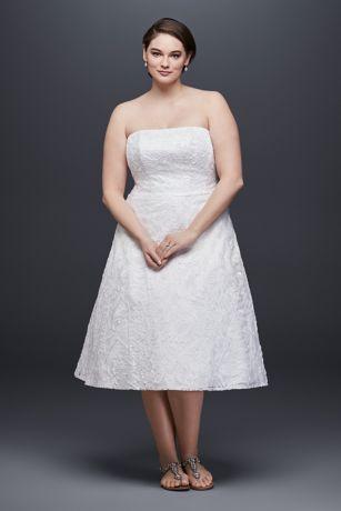 Soutache lace tea length plus size wedding dress davids bridal short a line simple wedding dress davids bridal collection junglespirit Images