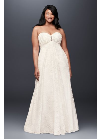 Leaf lace plus size wedding dress with brooch davids bridal long a line beach wedding dress davids bridal collection junglespirit Image collections
