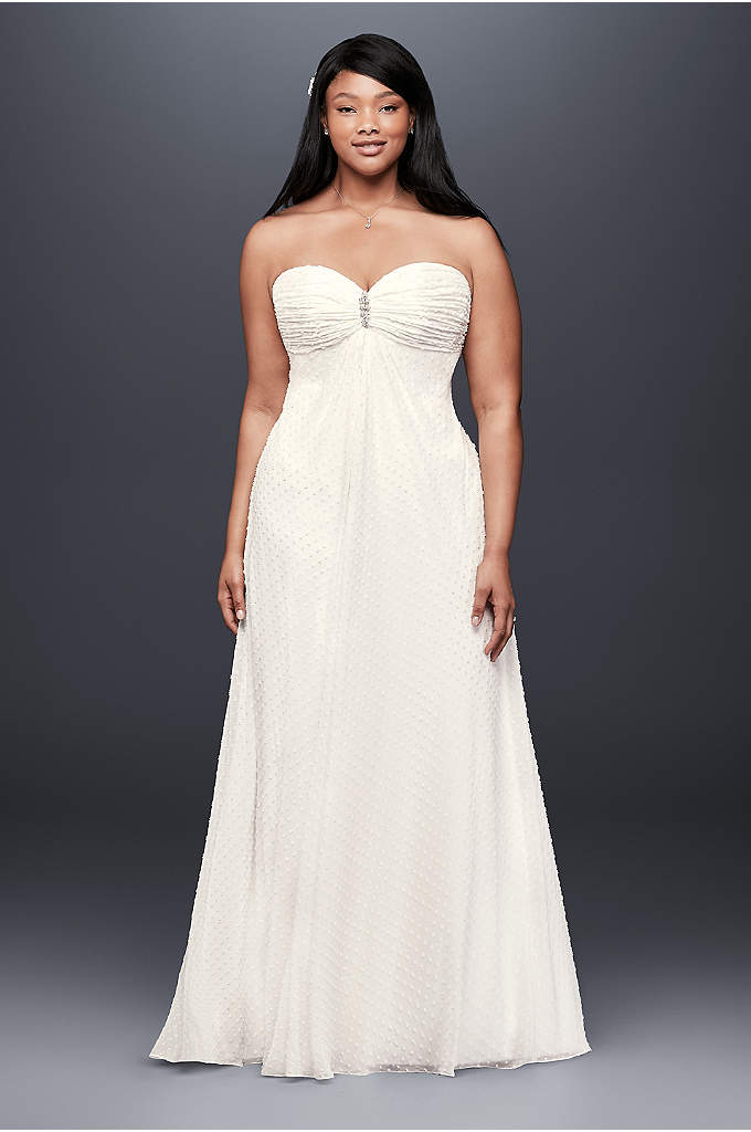 Dotted Plus Size Wedding Dress with Brooch - A soft and flowy empire-waist wedding dress, crafted