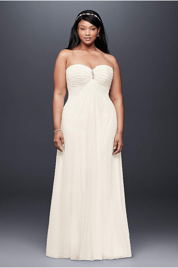 Dotted Chiffon Plus Size Wedding Dress - A soft and flowy empire-waist wedding dress, crafted