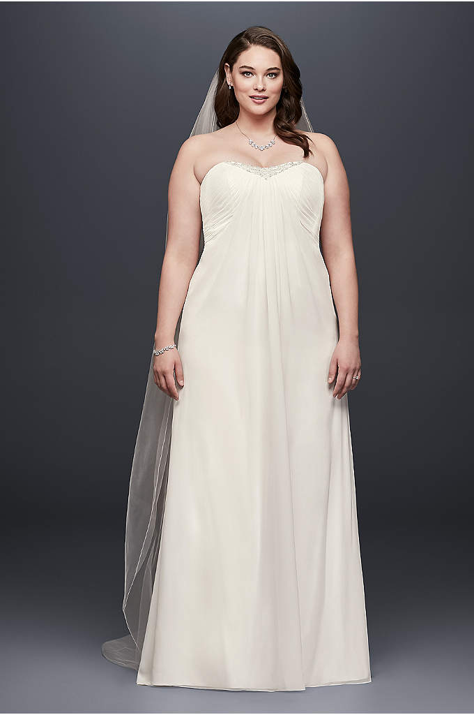 Strapless Pleated Chiffon Plus Size Wedding Dress - Graceful pleats flow from the empire waist of