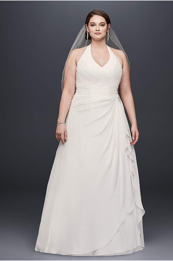 Pleated Ruffled Chiffon Plus Size Wedding Dress - This airy chiffon A-line plus-size wedding gown is