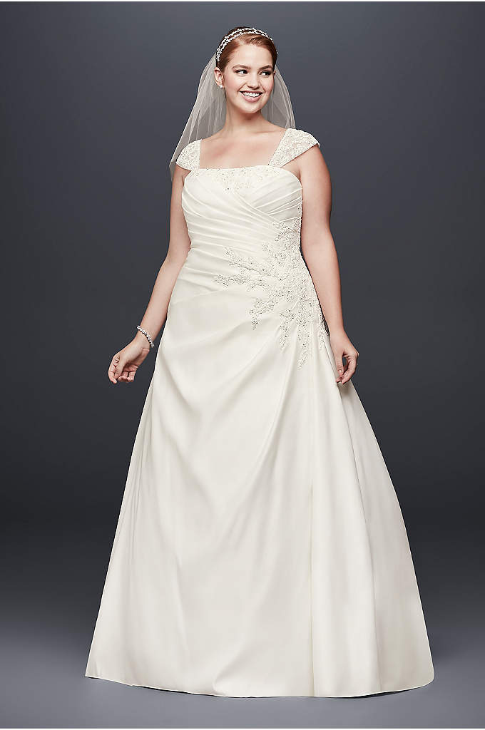 Appliqued Satin Cap Sleeve Plus Size Wedding Dress - Floral lace appliques adorn the bodice and sheer