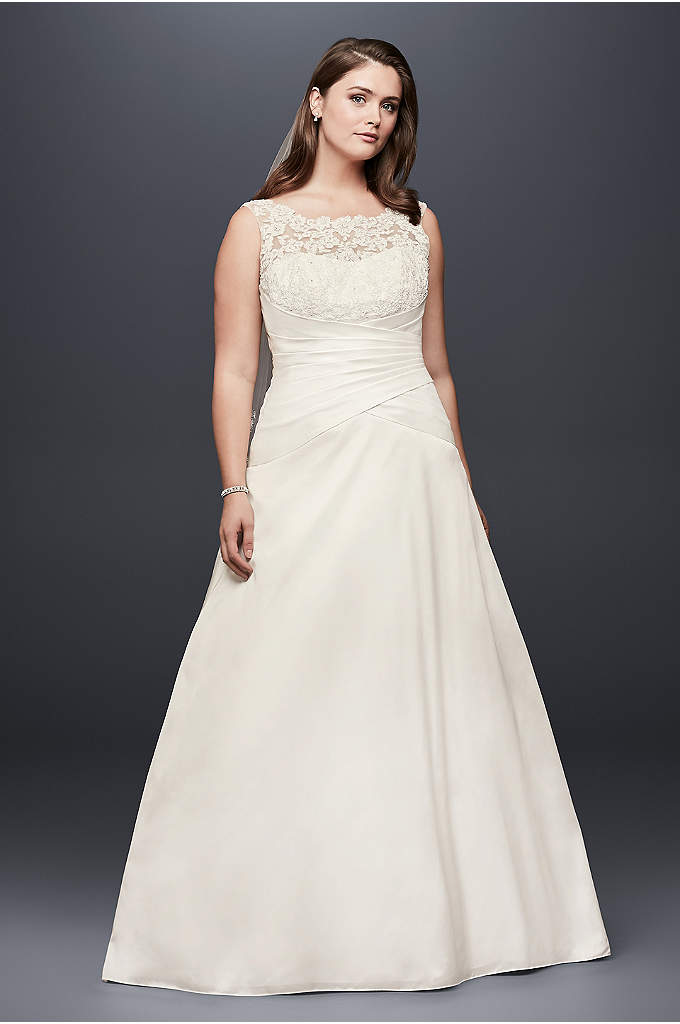 Illusion Lace and Taffeta Plus Size Wedding Dress - The picture of bridal elegance, this taffeta A-line