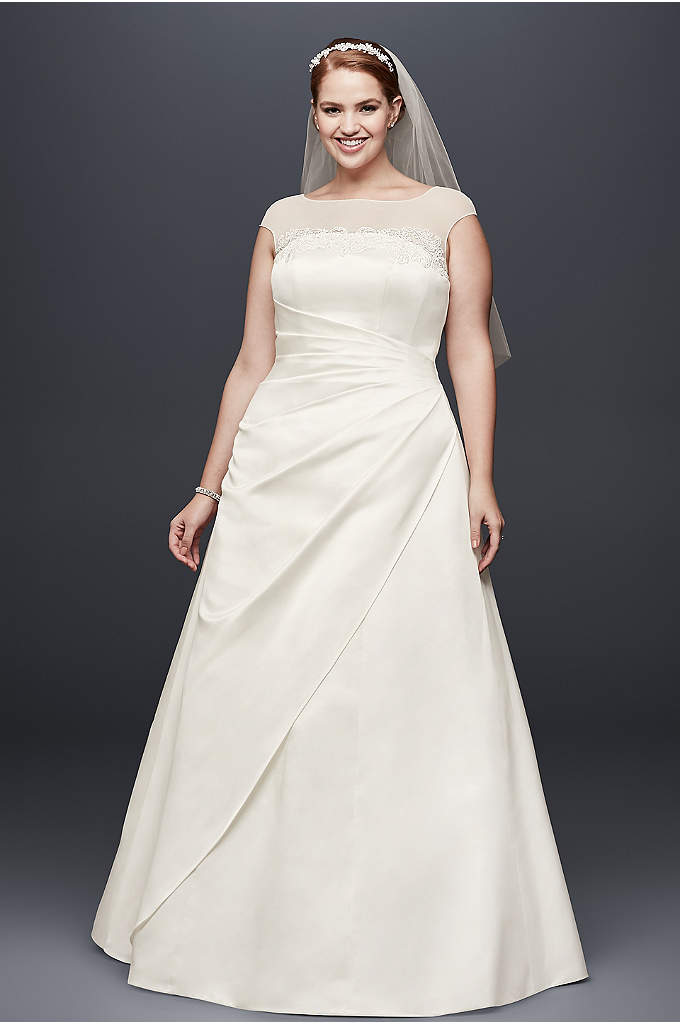 Illusion Side-Draped Satin Plus Size Wedding Dress - Sheer illusion mesh creates the high neckline and