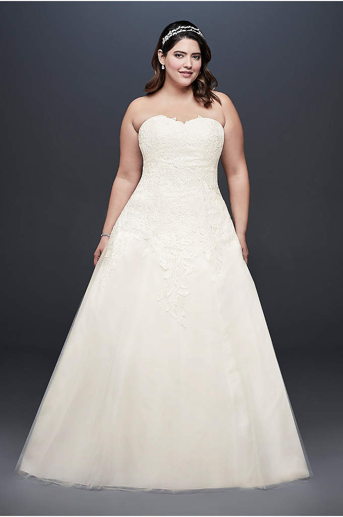 Soft Tulle Plus Size Wedding Dress with Leaf - Floral leaf appliques, scattered with small pearls and