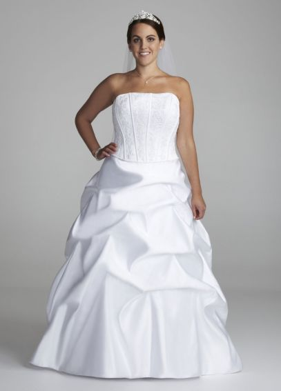 Strapless Satin Ballgown with Beaded Lace Corset 9OP8946