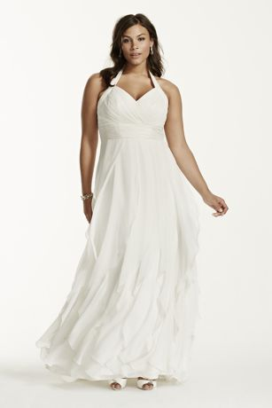 Chiffon Halter Ruffled Plus Size Wedding Dress - The perfect balance of style and grace, this