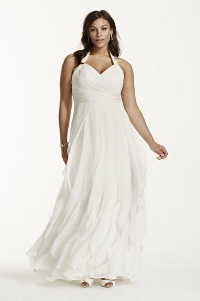 Chiffon Halter Ruffled Plus Size Wedding Dress | David's Bridal