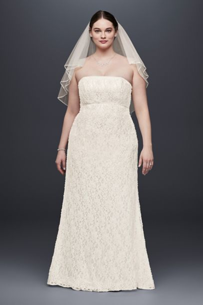 lace empire waist plus size wedding dress | david's bridal