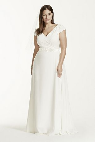 Cap Sleeve Plus Size Wedding Dress with Sash