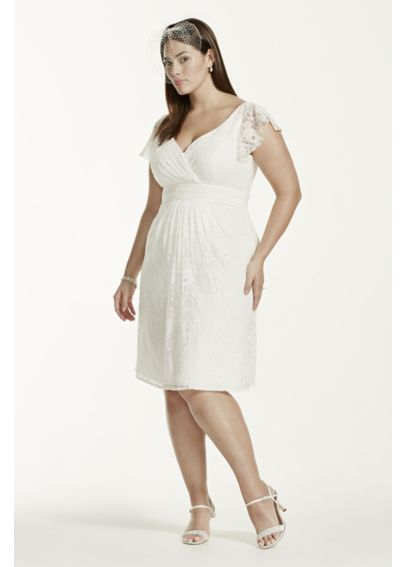 Cap Sleeve Short Lace Plus Size Wedding Dress  9SDWG0134