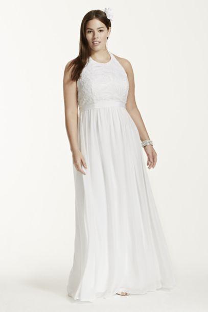 Chiffon A-line with Lace Plus Size Halter Top | David's Bridal