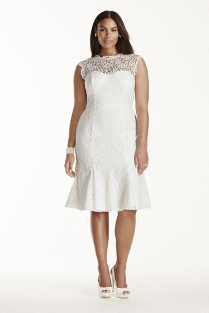 lace cap sleeve plus size short wedding dress | david's bridal