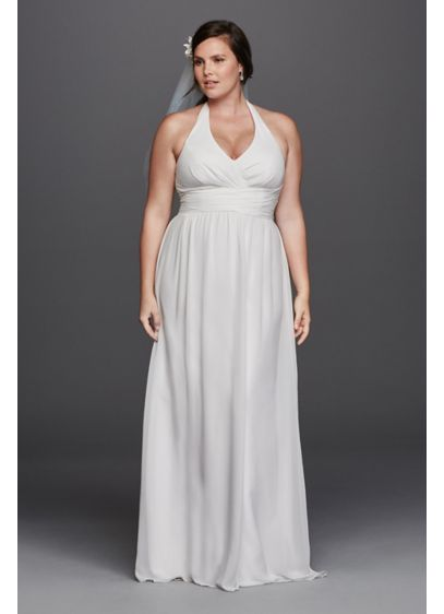 Chiffon sheath halter plus size wedding dress david 39 s bridal for Plus size sheath wedding dress