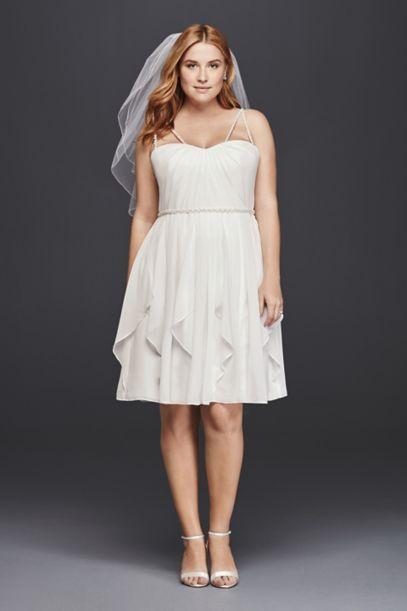 Short Plus Size Wedding Dress with Frilly Skirt | David's Bridal