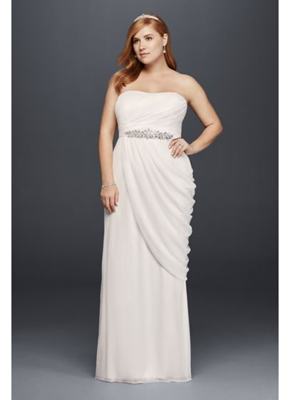 Sheath plus size wedding dress with beaded details david for Plus size sheath wedding dress