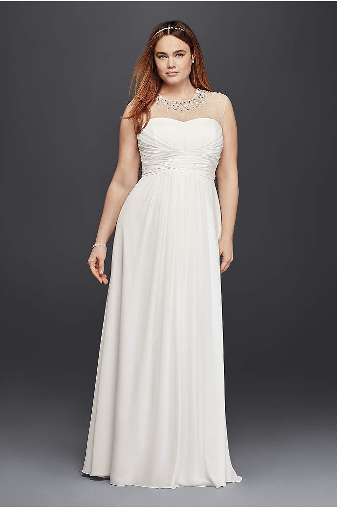 A line plus size wedding dress with beaded waist david 39 s for Plus size illusion wedding dress