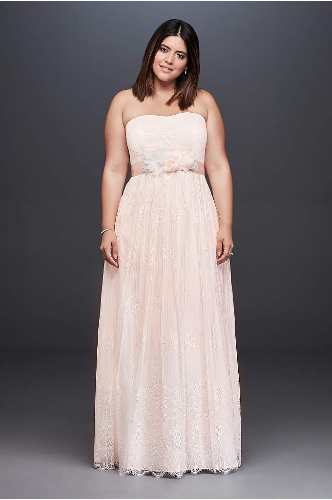 Soft Lace Plus Size Sheath Gown with Blush - Soft and simple, the fanned floral details of