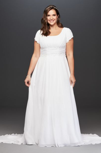 Short Sleeve Chiffon Plus Size Wedding Dress | David's Bridal