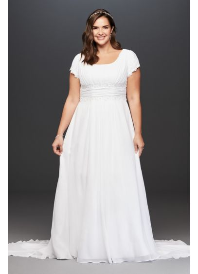 Short sleeve chiffon plus size wedding dress david 39 s bridal for Plus size after wedding dress