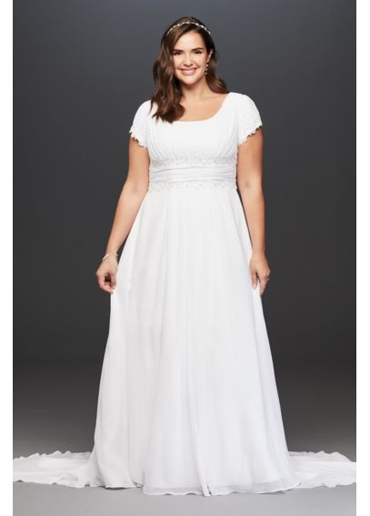 Short Sleeve Chiffon Plus Size Wedding Dress 9SLV9743
