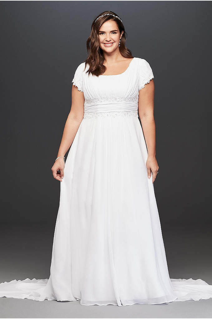Short Sleeve Chiffon Plus Size Wedding Dress - Add coverage without sacrificing style in this gorgeous